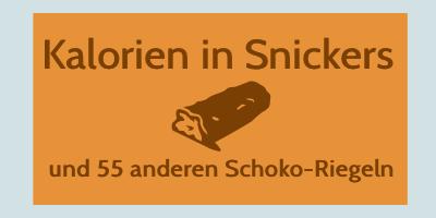 Kalorien in Snickers und Co.